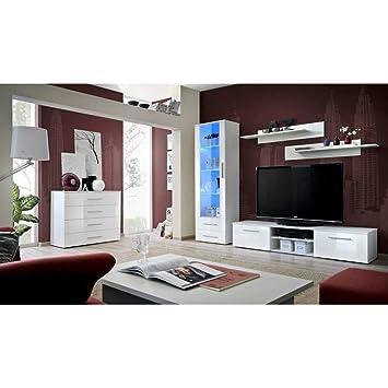 JUSTyou GULINO B Wohnzimmerset Wohnzimmermöbel Wohnwand (HxBxT): 190x340x45  Cm Weiß Matt / Weiß