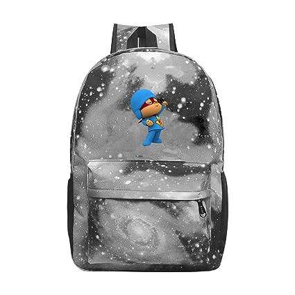 Super Pocoyo Mochila escolar de lona para niños, mochila de viaje para jóvenes