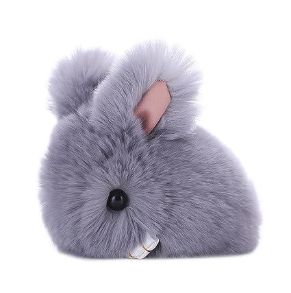 Sannysis Llavero del conejo Llaveros originales Llavero de la borla (Gris)