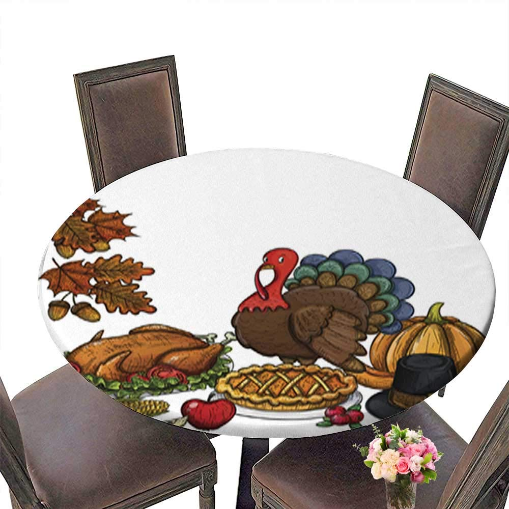Polyester Round Table Cloth,Still Life Thanksgiving Icons Table up to 31.5''-33.5'' Diameter