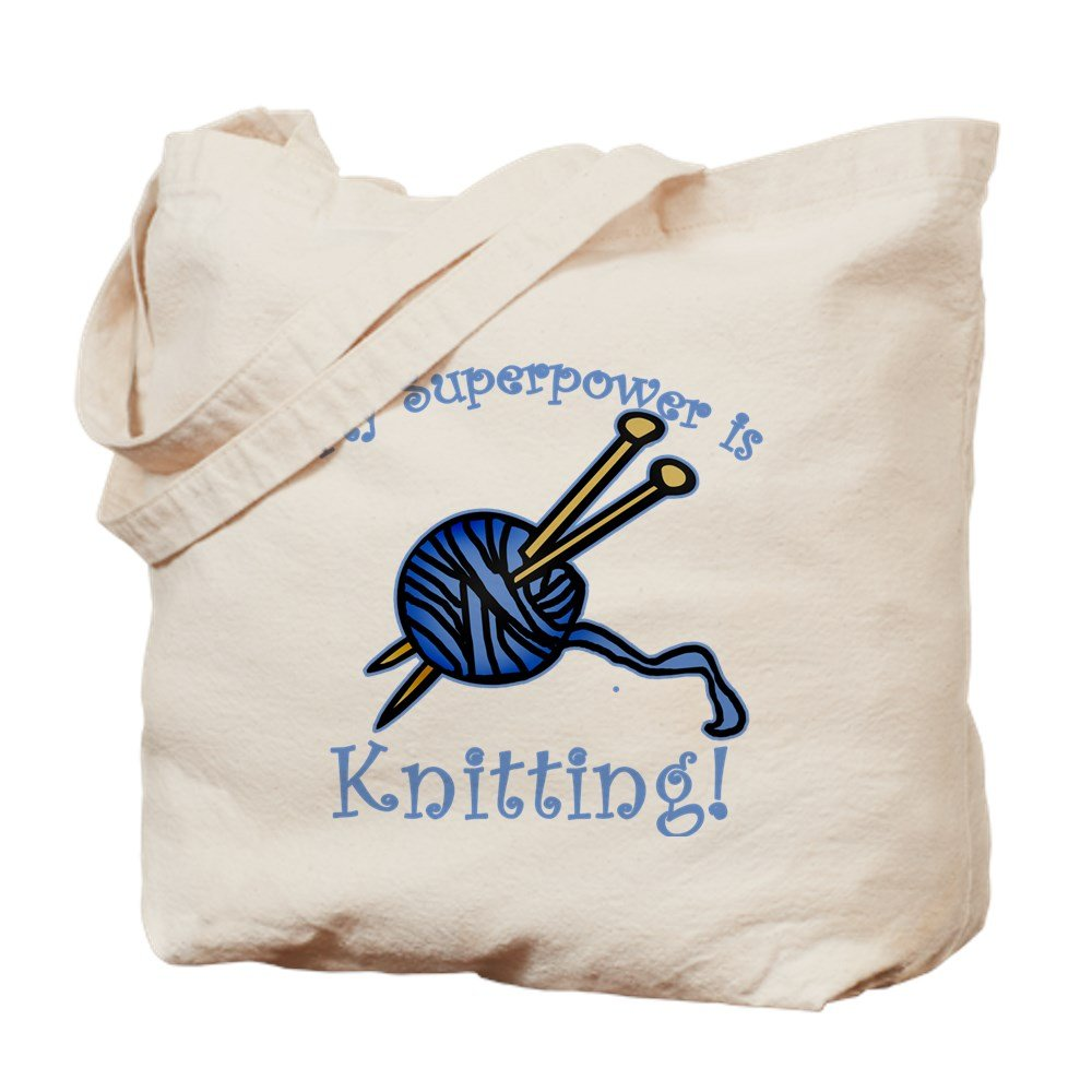 CafePress - My Superpower Is Knitting - Natural Canvas Tote Bag, Cloth Shopping Bag