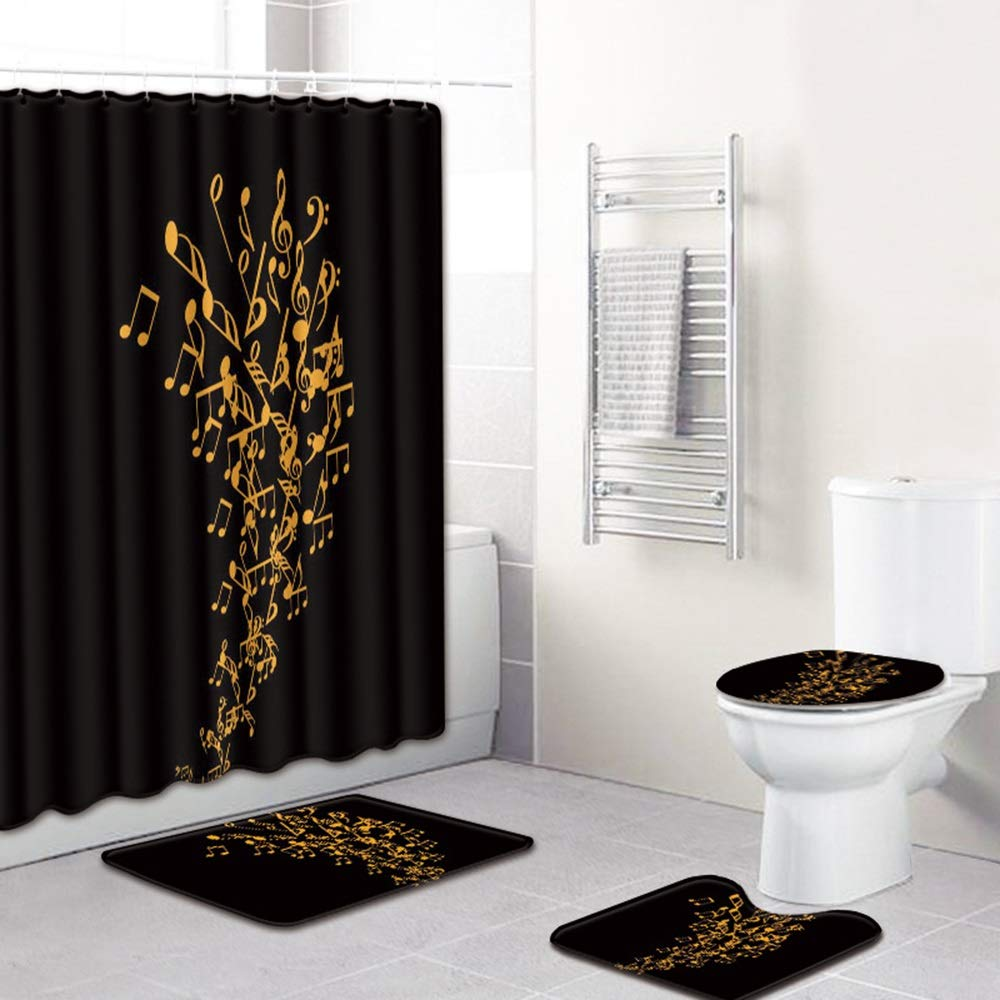 ETH Music Symbol Pattern Shower Curtain Floor Mat Bathroom Toilet Seat Four-Piece Carpet Water Absorption Does Not Fade Versatile Comfortable Bathroom Mat Can Be Machine Washed Durable by ETH