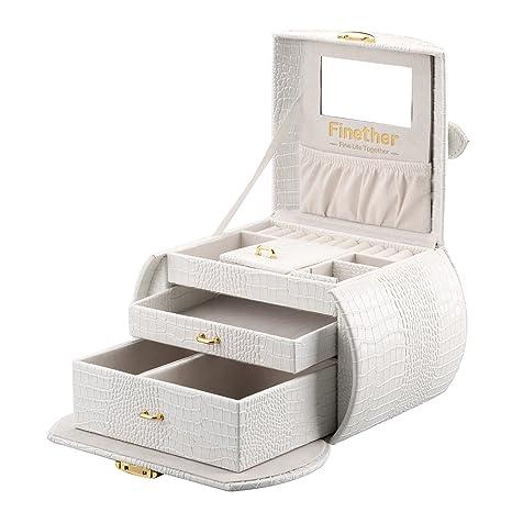 Finether-Joyero Bloqueable(Caja para joyas,Estuche Arqueado para Guardar Comésticas, Espejo y Cajones,Textura de Cuero de Cocodrilo,Tapa ...
