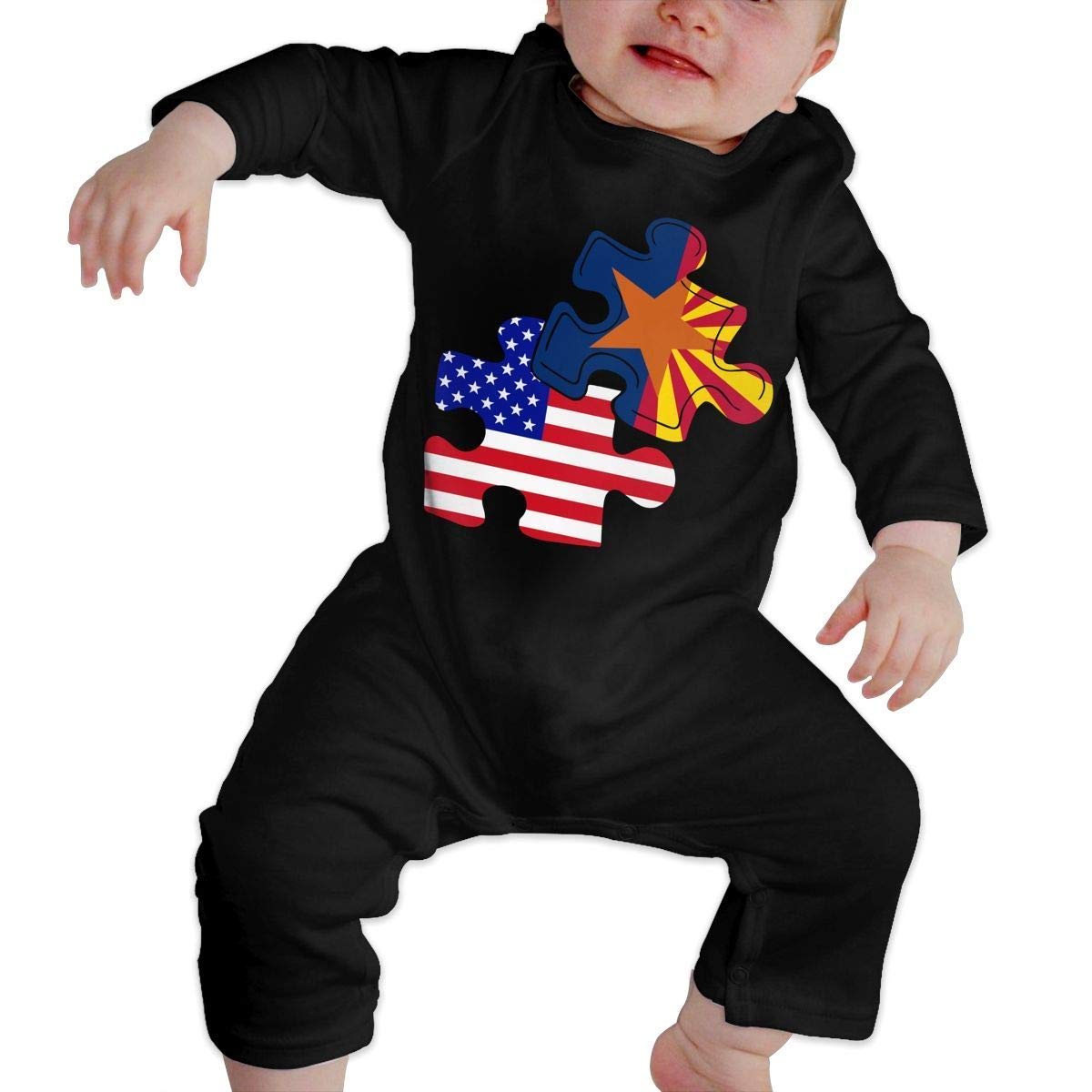 Baby Boy Coverall Arizona American Flag Puzzle Piece Infant Long Sleeve Romper Jumpsuit