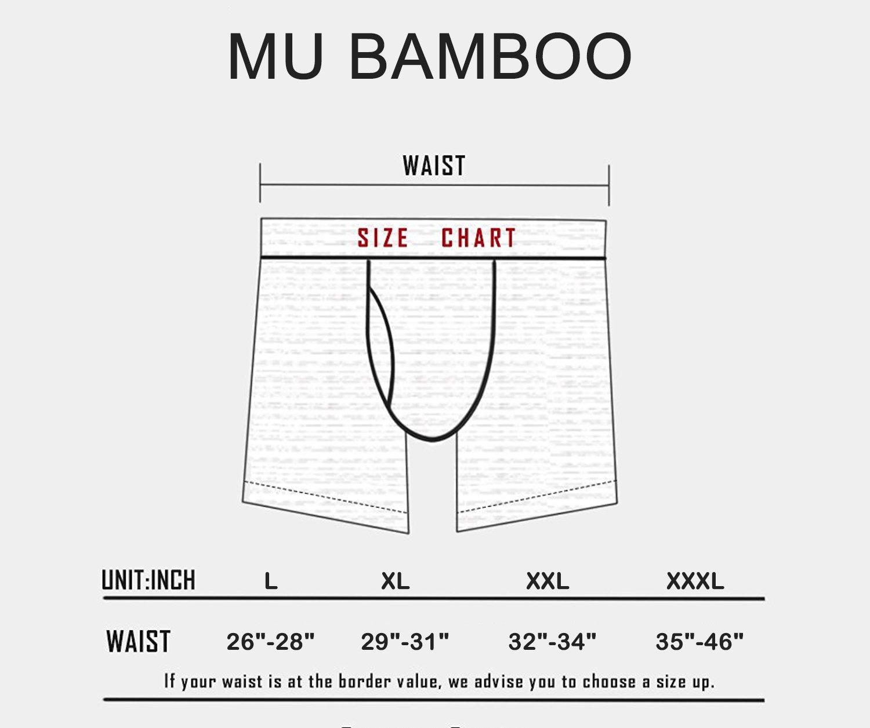 MU BAMBOO Men\'s Breathable Boxer Brief Underwear Stretch Sports-Inspired Boxer-Brief Underwear Wine XXL Waist 38 In