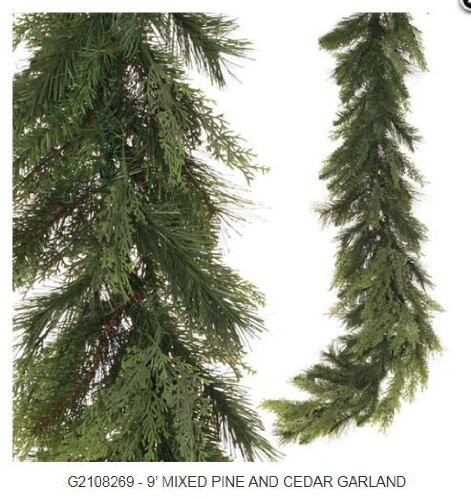 RAZ Imports - Mixed Pine and Cedar Garland 9'