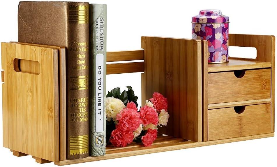 Porta-Libri allungabile in Legno di bamb/ù Libreria da scrivania in bamb/ù con 2 cassetti Cucina e Bagno Libreria in Legno allungabile