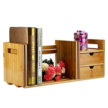 Desktop Organizer, Bamboo Adjustable Bookshelf Display Shelf File Book Organizer Rack Stand Holder Table Counter Top with Single/Double Drawer Office Home (Double Drawer)