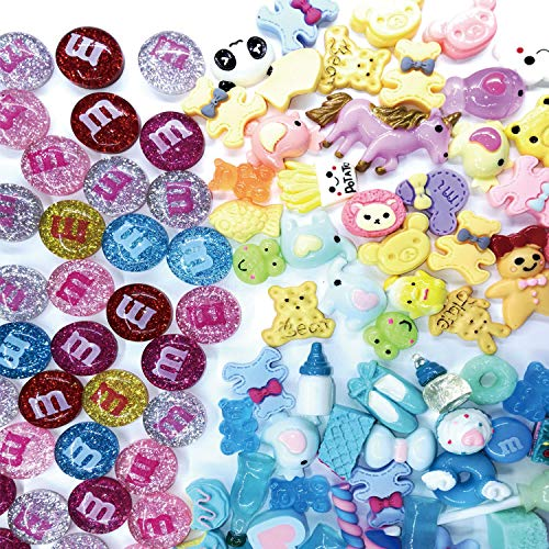Fartime 120 Pieces Slime Charms Mixed Lovely Animals,Coloured Beans and Blue Series of Slime Beads for Ornament Scrapbook DIY Crafts.