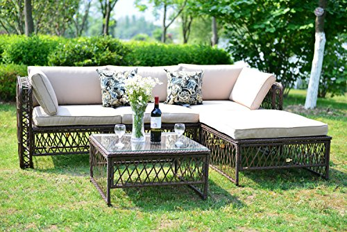 (GOJOOASIS Luxury Outdoor Patio PE Wicker Rattan Sofa Sectional Furniture Conversation Set with Cushion and Pillow, Steel Frame, Brown Provence Series (5pcs Rattan Sofa Set))