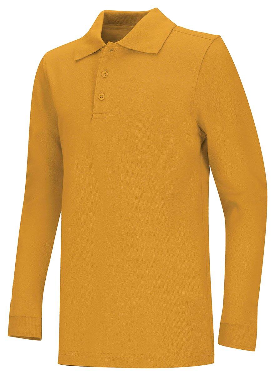 CLASSROOM Little Boys' Uniform Long Sleeve Pique Polo, Gold, Small