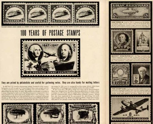 Great 3-PG 1947 Article ON 100 Years of Postage Stamps Original Paper Ephemera Authentic Vintage Print Magazine Ad/Article