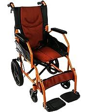 Silla de ruedas ligera   reposapiés, respaldo y reposabrazos acolchados   Ancho 43 y 46 cm   naranja   Mod. Pirámide   Mobiclinic