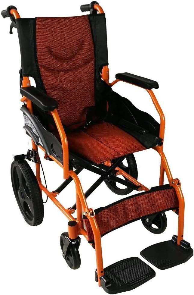 Mobiclinic, Modelo Pirámide, Silla de ruedas ortopédica, plegable, de tránsito, de aluminio, freno en manetas, reposapiés, reposabrazos, ruedas pequeñas, color naranja, asiento 41 cm