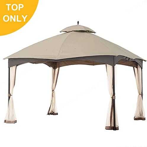 MasterCanopy Gazebo 12 x 10 Cabin-Style Soft Top Gazebo Top for Model L-GZ933PST Beige