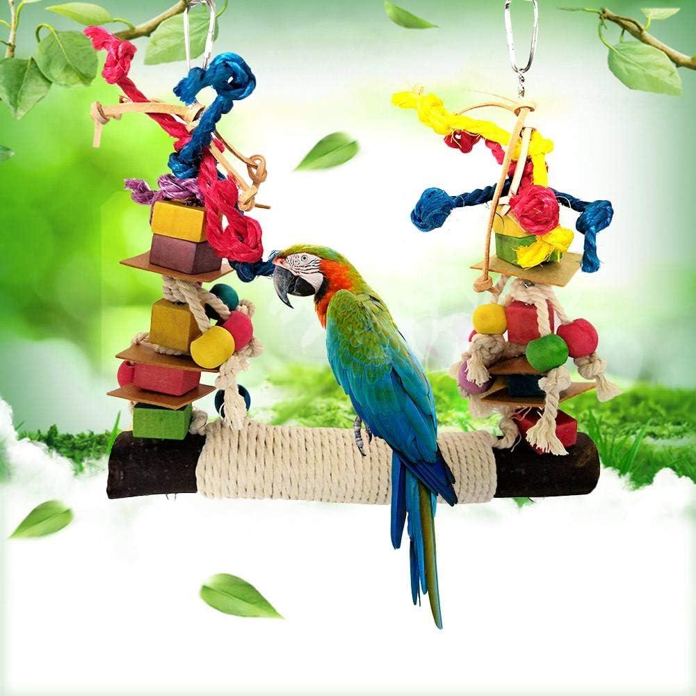Dynamicoz Pet Parrot Chew Toy, Juguetes De Mordedura De Cuerda De Algodón Colorido Bloque De Construcción Cuerda De Algodón Columpio Grande para Mascota Pájaro