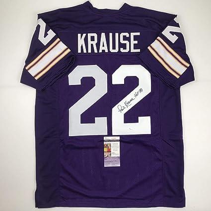 Autographed/Signed Paul Krause HOF 98 Minnesota Purple Football ...
