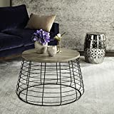 "Safavieh Rowley 22"" Round Retro Mid Century Metal and Wood End Table, Light Grey/Black"