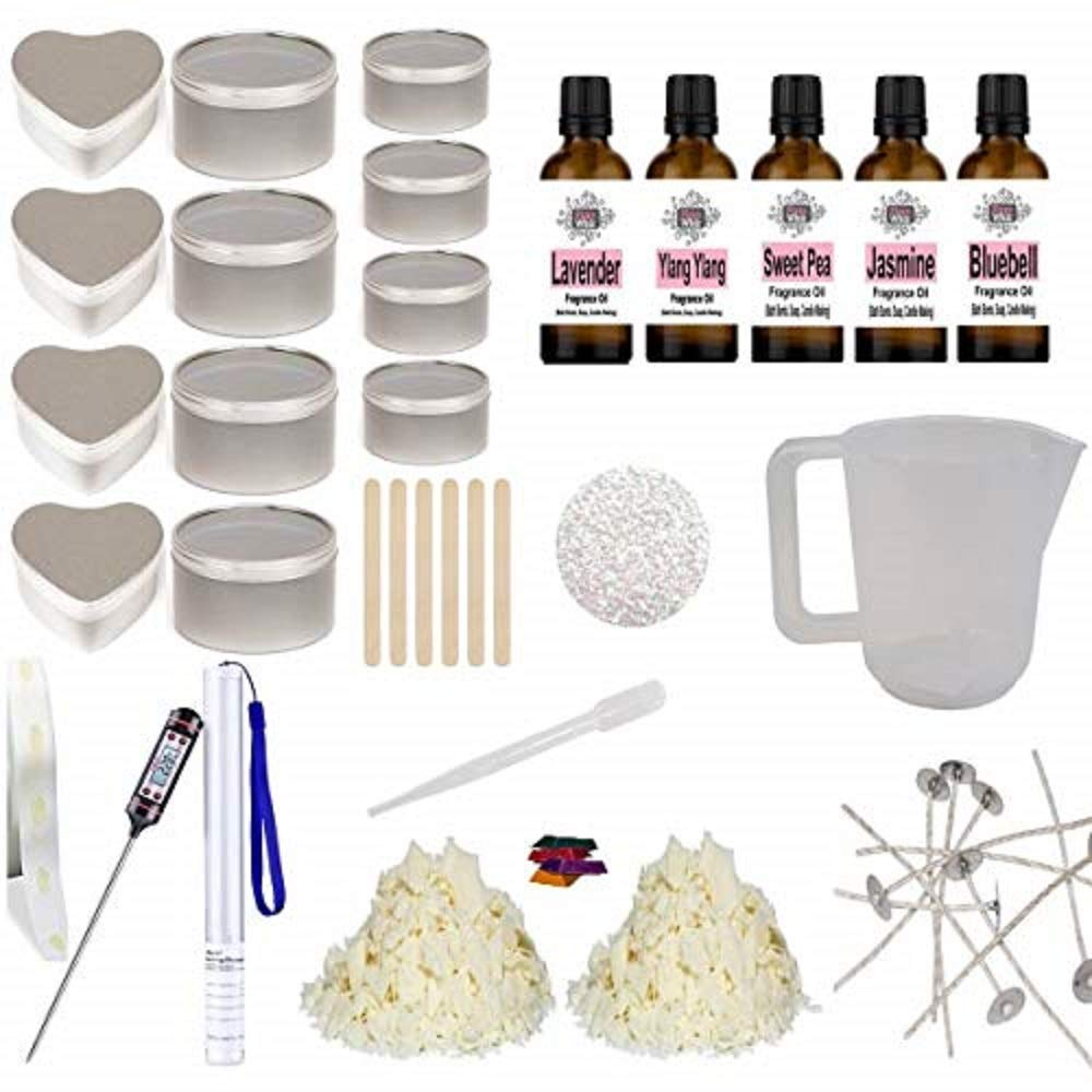 Eco Soy Candle Making Kit 16 - Beginner Starter Set Tins Glitter Floral Fragrance Oil & Colour NA