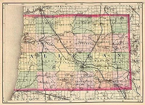 State Atlas | 1873 (Map of Allegan County, Michigan) | Historic Antique Vintage Reprint - Michigan Antique Map