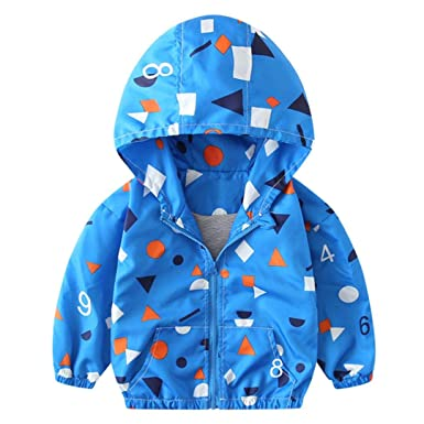 e1faeb12cf6 Amazon.com: Shybuy Toddler Kids Lightweight Jacket Boy's Girls Zip up  Hooded Windbreaker Color Dot Print Casual Coat Outerwear: Clothing