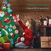 MeeQee 3ft DIY Felt Christmas Tree Set 28pcs Glitter Coated Ornaments Wall Hanging Xmas Gifts for Kids Christmas Decorations 14539370