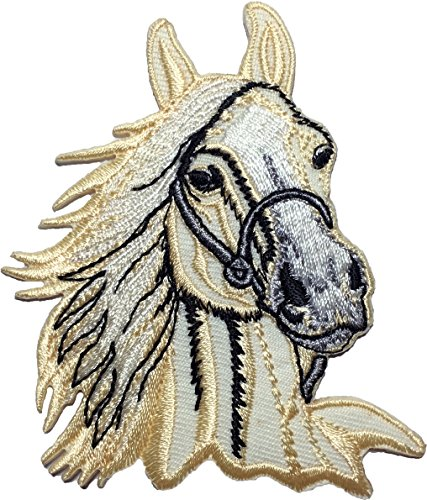 [WHITE Horse size 7.5 x 8.5cm. Jacket Vest shirt hat blanket backpack T shirt Patches Embroidered Appliques Symbol Badge Cloth Sign Costume Gift] (Step Back In Time Costumes)