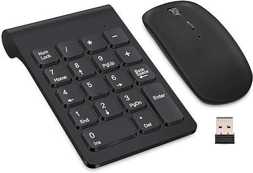 Teclado numérico inalámbrico, TRELC Mini 2.4G 18 Teclas Teclado numérico portátil silencioso de Cuentas financieras Teclado numéricas con Mouse ...