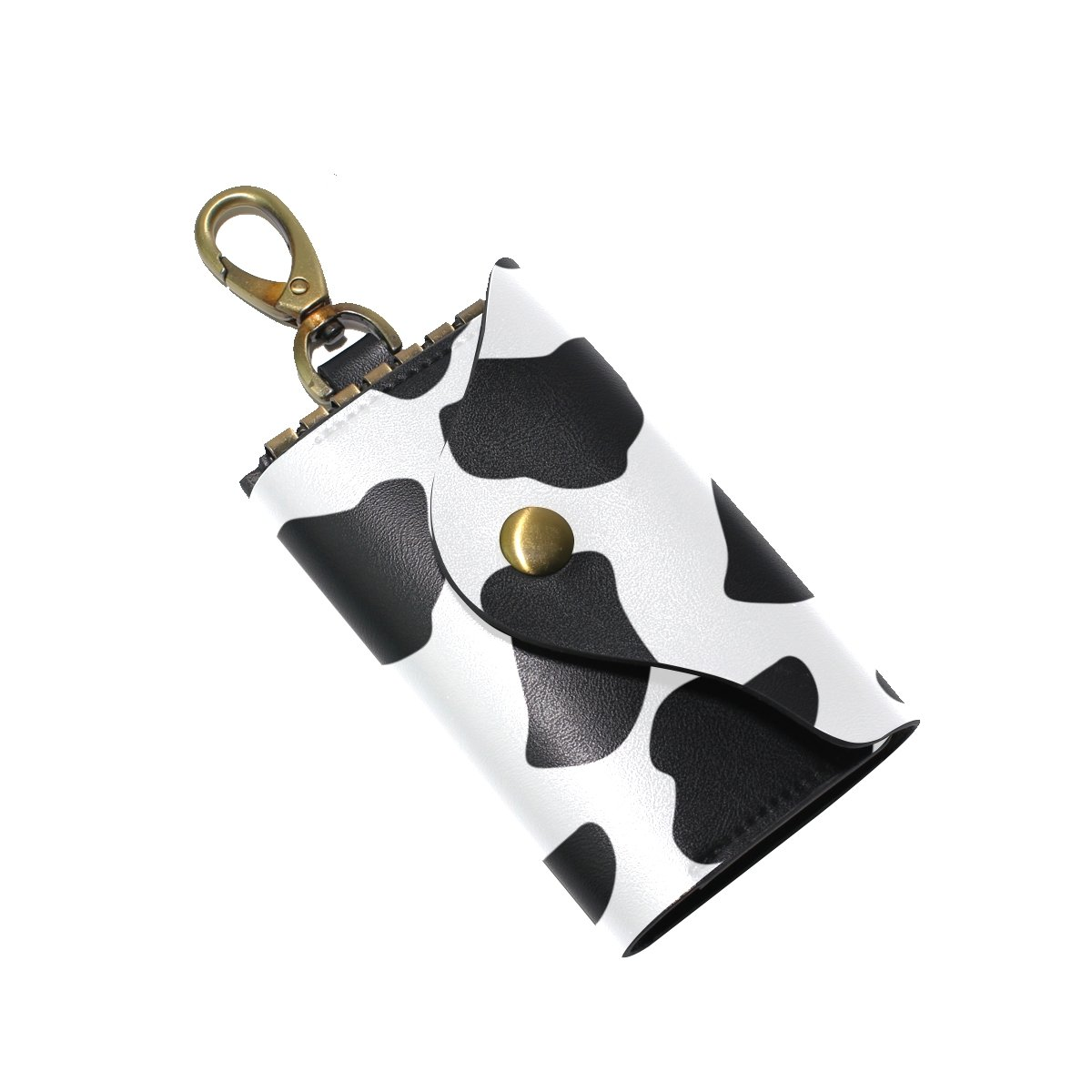 KEAKIA Cow Pattern Leather Key Case Wallets Tri-fold Key Holder Keychains with 6 Hooks 2 Slot Snap Closure for Men Women