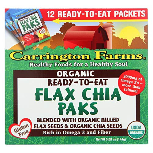 Carrington Farms Ready-To-Eat Organic Flax Chia Paks 12 Pkts