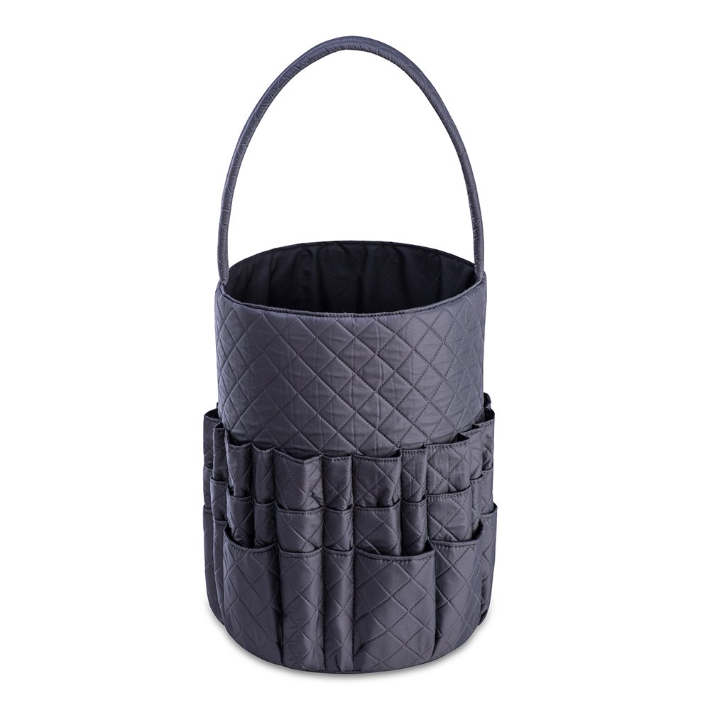 Yarn and Needle Accessory Bucket with Inner Pockets DeNOA Quilted Knitting and Sewing Storage Bag Midnight Black