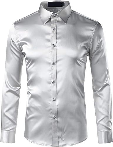 Camisa de satén de Seda de los Hombres Chemise Homme Casual de Manga Larga Slim Fit para Hombre Camisas de Vestir de Boda de Negocios Camisa Masculina: Amazon.es: Ropa y accesorios