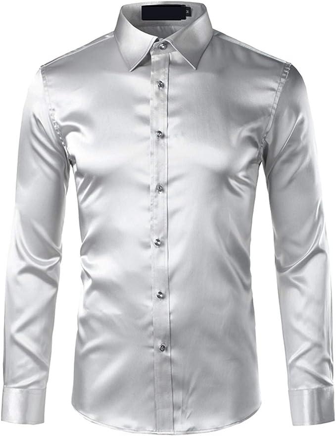 Camisa de satén de Seda de los Hombres Chemise Homme Casual de ...