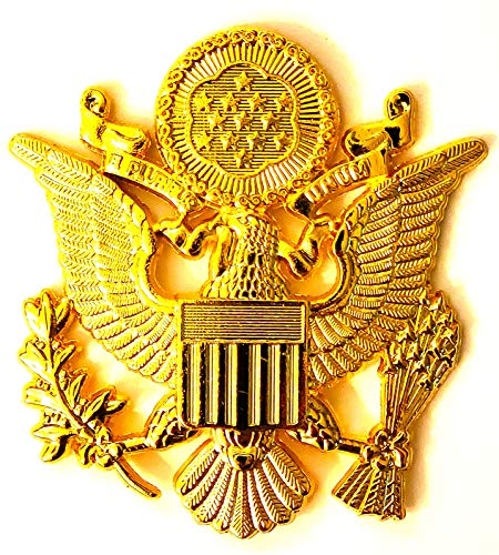 DEURA US Army Officer Cap Eagle Badge Insignia Gold 2-1/2