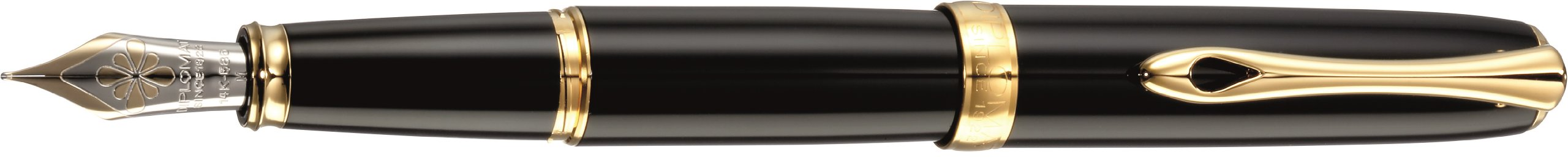 Diplomat Excellence A plus, black lacquer gold, fountain pen, 14ct gold nib F fine