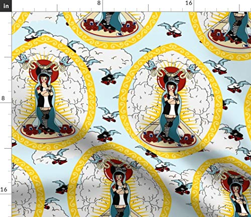 Spoonflower Roller Derby Fabric - Our Lady of The Holy Rollers Women Idols Skating Skates Wheels Blue Feminist Sky Print on Fabric by The Yard - Chiffon for Sewing Fashion Apparel Dresses Home Decor