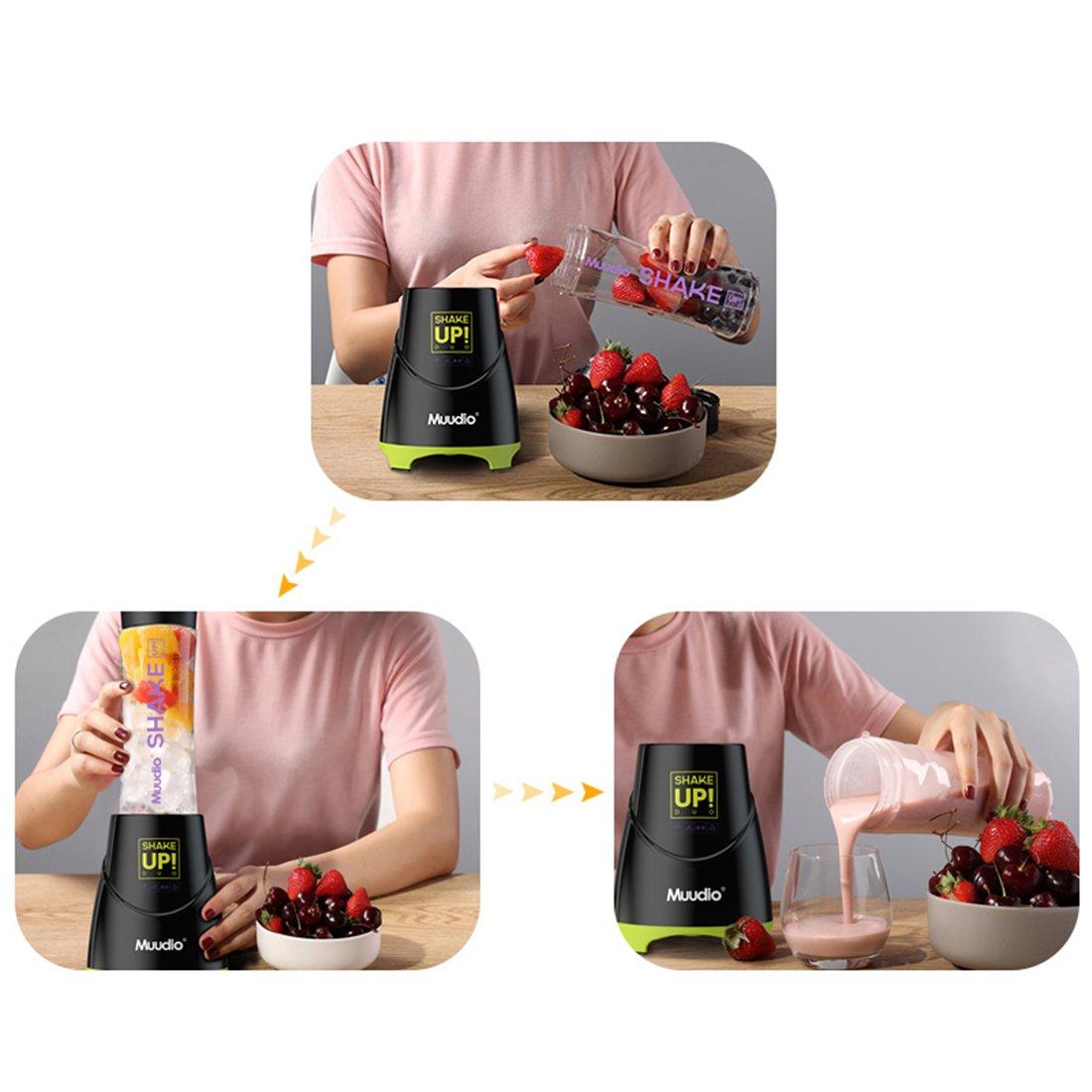 Licuadora De Jugo Eléctrico - Botella De Exprimidor Portátil Mini Viaje Mezclador De Hielo De Fruta Automático - Botella Doble De 600 Ml 4 Cuchillas 300W ...