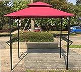 BestMassage 8′ x 5′ Grill Gazebo Steel Frame Outdoor Backyard BBQ Grill Gazebo with 2-Tier Soft Top Canopy