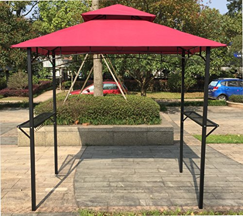 BestMassage 8' x 5' Grill Gazebo Steel Frame Outdoor Backyard BBQ Grill Gazebo with 2-Tier Soft Top Canopy by BestMassage