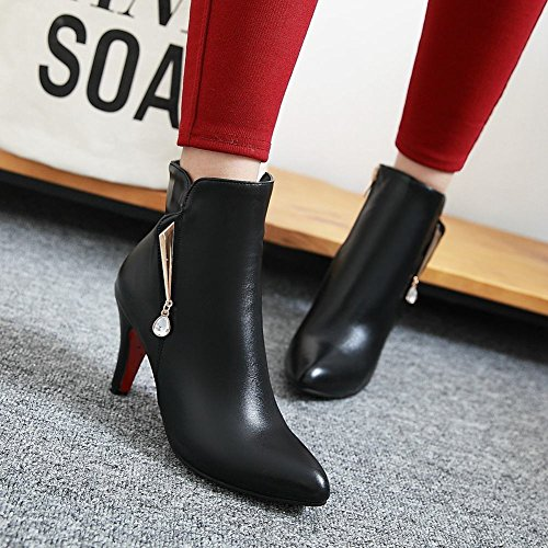 Latasa Womens Pointed Toe High Heels Ankle Dress Boots Black HRCHE