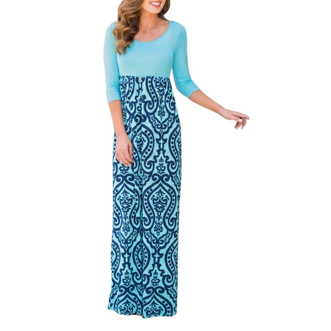 Kimloog Maxi Sundress, Women Scoop Neck Print High Waist Long Boho Beach Dress (XL, Blue)