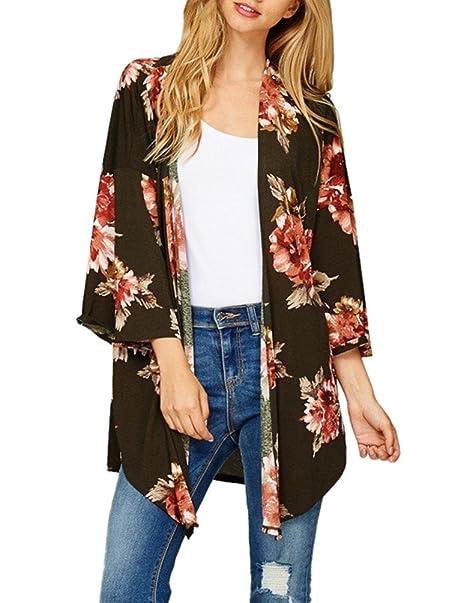 de9bb19344 Women Sheer Floral Loose Kimono Cardigan Capes Versatile Cover Up Blouse  Black S