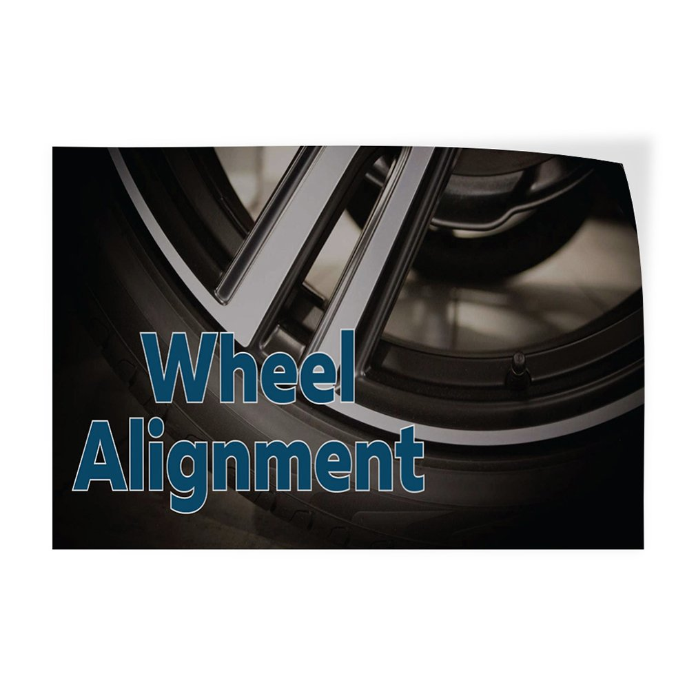 52inx34in Set of 2 Decal Sticker Multiple Sizes Wheel Alignment #2 Style A Automotive Wheel Outdoor Store Sign Black