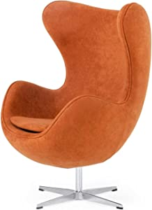 Limari Home Simeon Collection Modern Style Fabric Upholstered Accent Chair with Piped Seams and Swivel Base, Rust