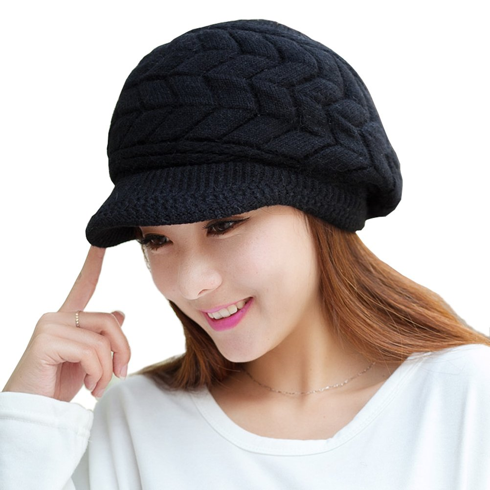 0f8ae3540e3 HINDAWI Women Winter Warm Knit Hat Wool Snow Ski Caps With Visor product  image