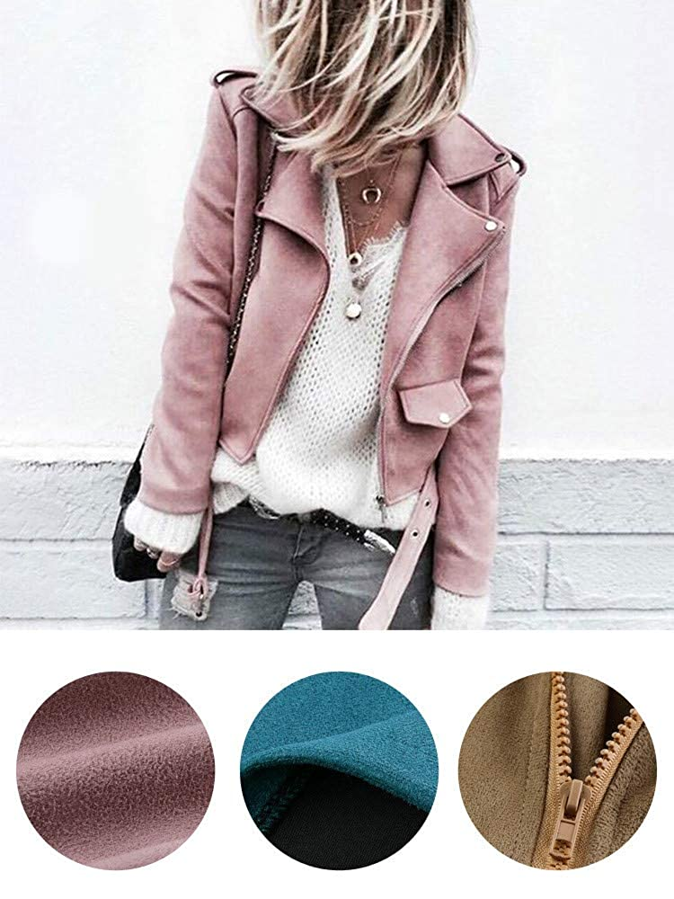 Alangbudu Women Turn Down Collar Faux Belted Shrug Skew Zipper Coat Long Sleeve Cropped Tops Slim Fit Motorcycle Jacket