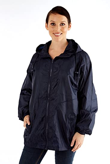 538be43aa Womens/Ladies Rainwear Coat Waterproof Kag In A Bag Jacket, Navy  Medium/Large: Amazon.co.uk: Clothing