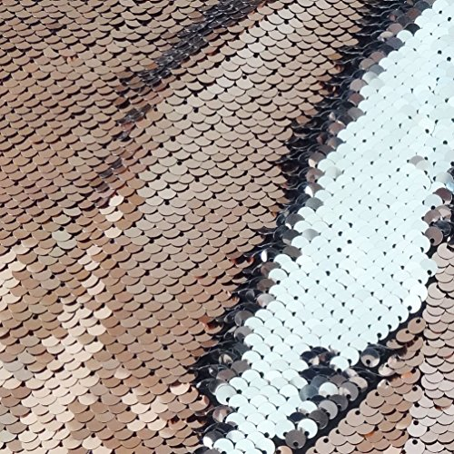 (San Tungus One Yard Christmas Reversible Sequin Fabric Sparkly Fabric for Cushion Cover Curtain Table Linens Decoration, Rose Gold & Silver)