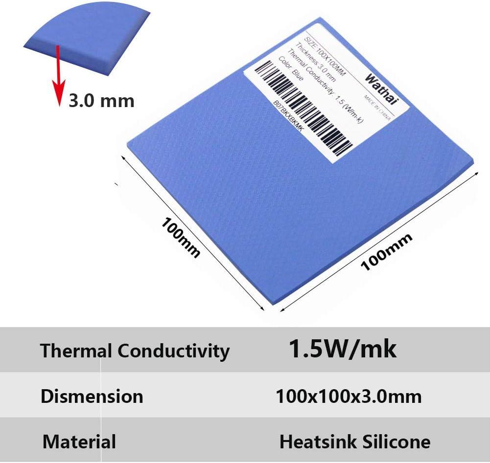 1pcs 100x100x 3mm blue GPU CPU Heatsink Thermal Conductive Paste Silicone Pad