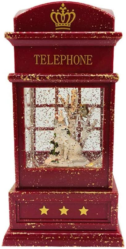 Christmas Snow Globe Lantern - with Music Swirling Glitter and Battery Powered Phone Booth Crystal Wind Lamp Creative Puppy Housekeeping Snowflake Water Lantern for Christmas Home Decoration and Gift